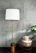 Load image into Gallery viewer, Long Gold Lamp Stand in 2 Tapered [WHITE, BEIGE] Shade