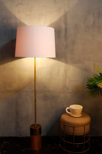 Long Gold Lamp Stand in 2 Tapered [WHITE, BEIGE] Shade