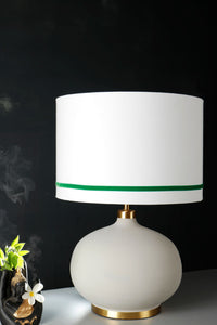Grey Womb Table Lamp with 2 White [GREEN & RED] Striped Lampshade