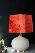 Load image into Gallery viewer, Grey Womb Table Lamp with 2 [BLACK, ORANGE VELVET] Drum Lampshade