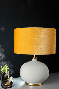 Grey Womb Table Lamp with Yellow Velvet Drum Lampshade
