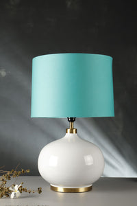 White Womb Table Lamp with 3 [WHITE, TURQUOISE, GREEN STRIPED] Shade