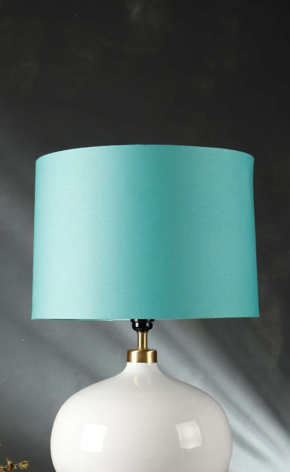 Turquoise Drum Cotton Lampshade for Table Lamp