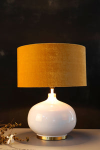 White Womb Table Lamp with Drum Yellow Velvet Lampshade