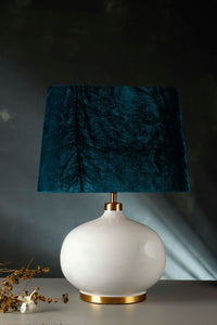 White Womb Table Lamp with 2 [BLACK, GREEN VELVET] Shade