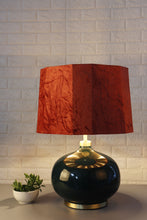 Load image into Gallery viewer, Green Womb Table Lamp with 2 [BLACK, RUGGED ORANGE] Hexagon Shade