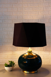 Green Womb Table Lamp with 2 [BLACK, RUGGED ORANGE] Hexagon Shade