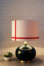 Load image into Gallery viewer, Green Womb Table Lamp with 2 White [GREEN & RED] Striped Lampshade