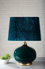 Load image into Gallery viewer, Green Womb Table Lamp with 2 [GREEN VELVET, BLACK] Shade