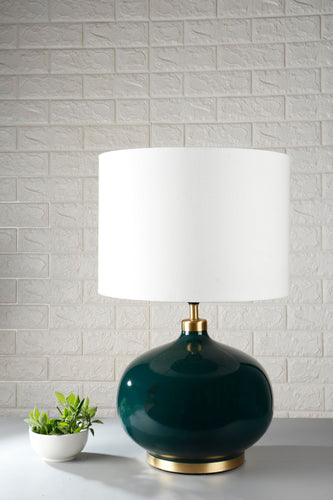 Green Metal Table Lamp with white lampshade