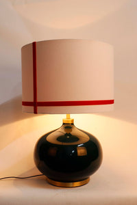 Green Womb Table Lamp with 2 White [GREEN & RED] Striped Lampshade