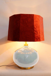 White Womb Table Lamp with 2 [BLACK, ORANGE VELVET] Hexagon Shade