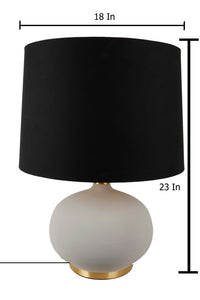 Grey Womb Table Lamp with 3 [BEIGE, BLACK, ORANGE VELVET] Shade