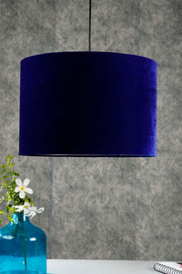 Drum Shaped Hanging Shade in 2 [BLUE VELVET, WHITE] Color