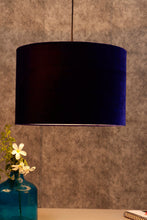 Load image into Gallery viewer, Drum Shaped Hanging Shade in 2 [BLUE VELVET, WHITE] Color