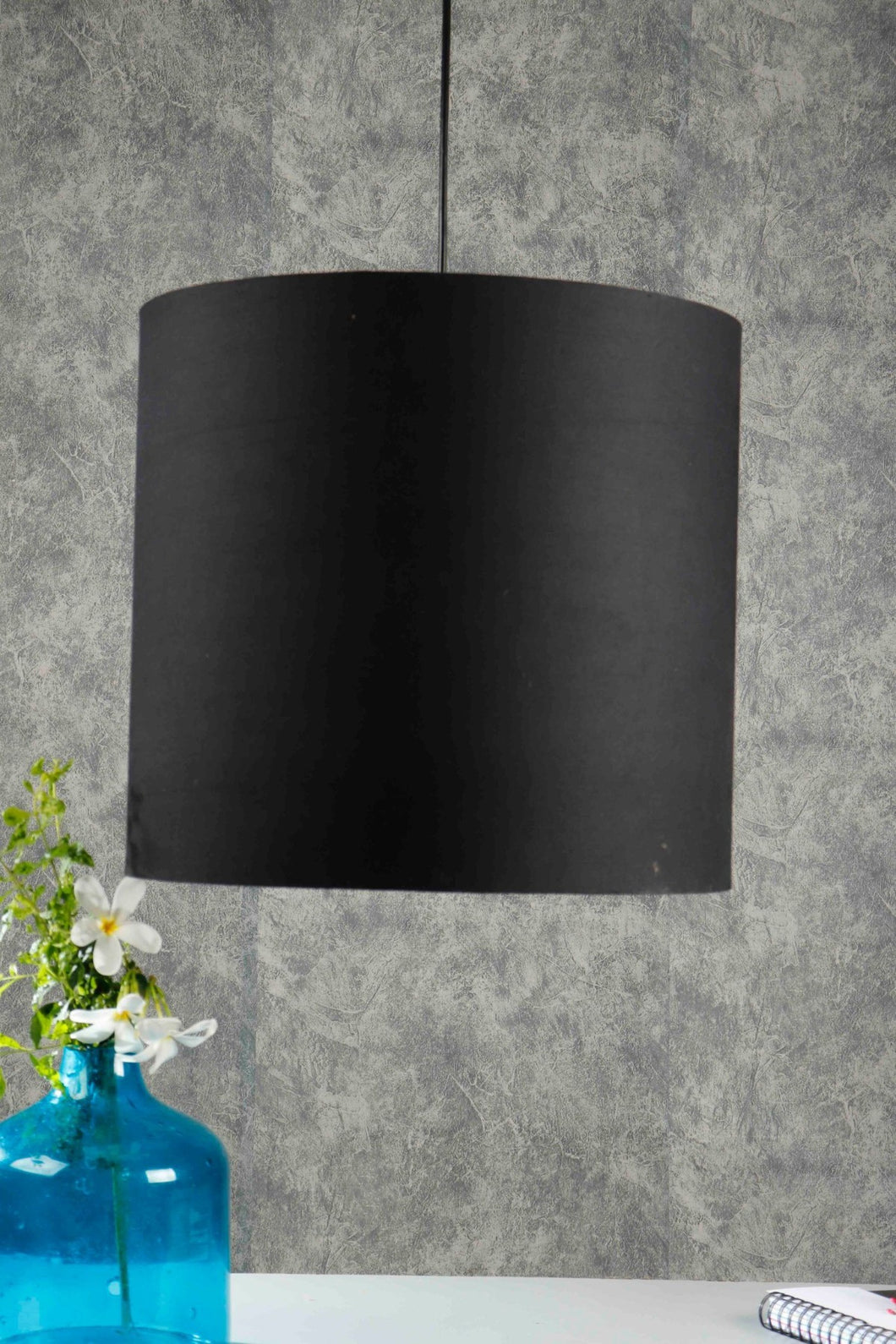 Drum Shaped Black Hanging Shade [16 Inches]