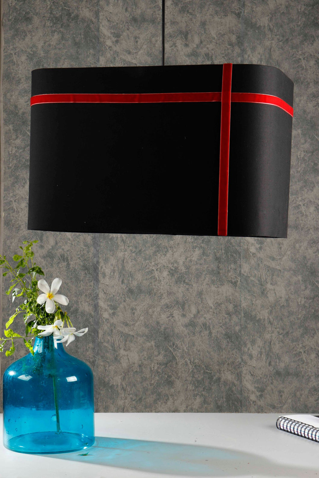 Rectangular Black Hanging Shade in 2 [RED & GREEN] Stripes