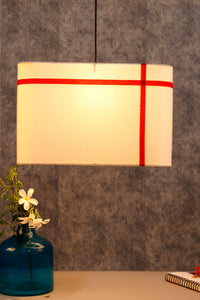 Rectangular White Hanging Shade with Red Stripes [19 Inches]