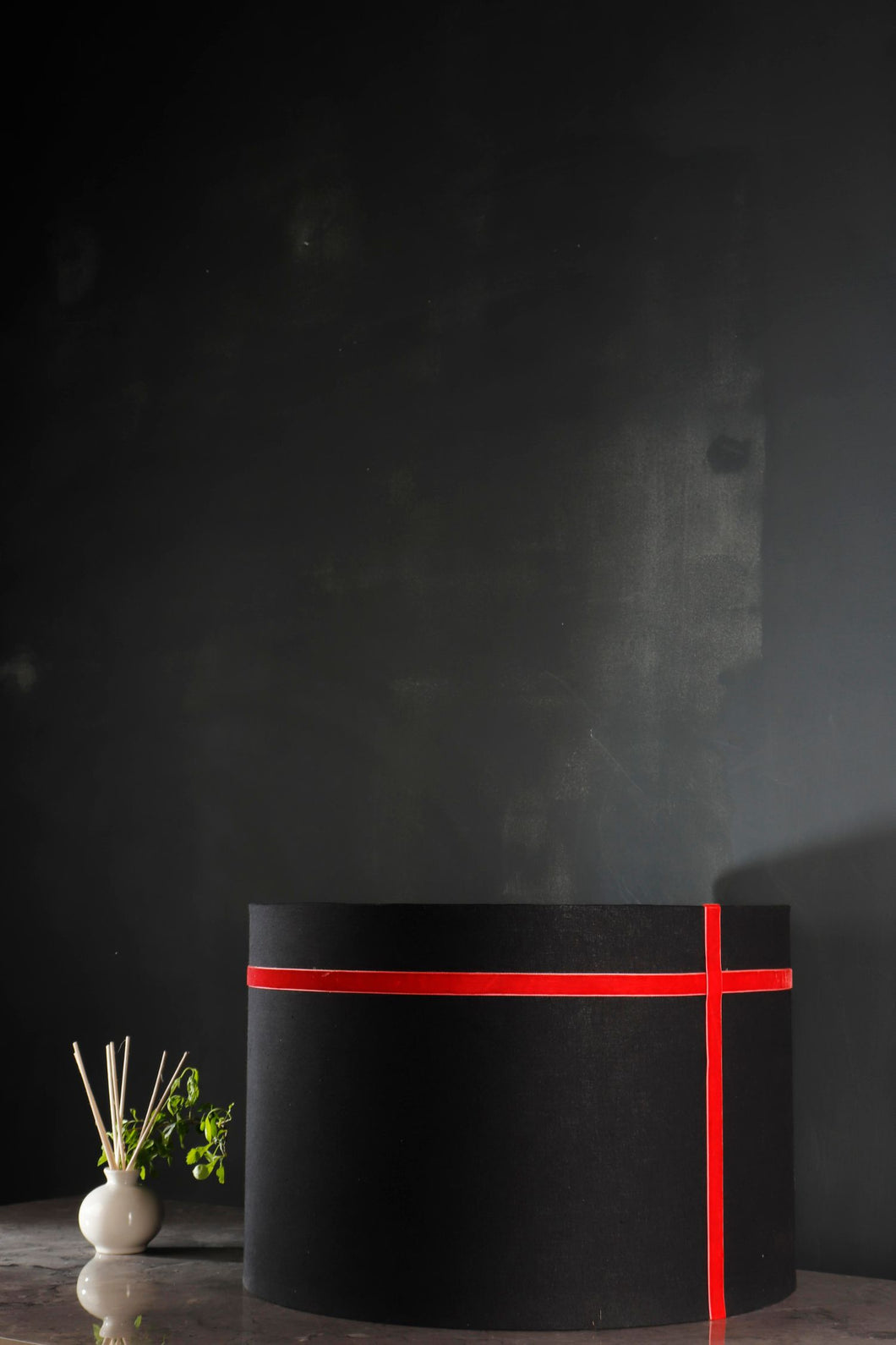 Black Lampshade with Red Stripes in [2 Sizes]