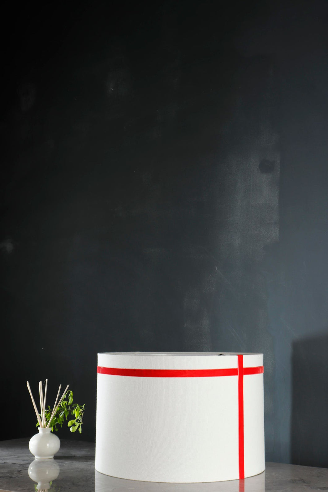 White Lampshade with Red Stripes in [3 sizes]