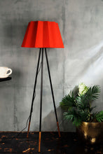Load image into Gallery viewer, Joss Stick Lamp Stand with Red Folded Lampshades