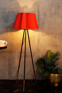 Joss Stick Lamp Stand with Red Folded Lampshades
