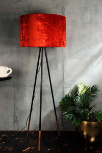 Rust Color Velvet Lampshade for Lamps