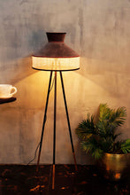 Load image into Gallery viewer, Joss Stick Lamp Stand with Upside Down Brown & Beige Shade