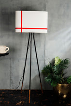 Load image into Gallery viewer, Joss Stick Lamp Stand in White lampshade with Red Stripes [3 sizes]