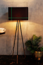 Load image into Gallery viewer, Joss Stick Lamp Stand in Black lampshade with Green Stripes