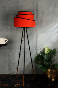 Joss Stick Lamp Stand with Red Multi-layer Lampshade