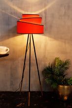 Load image into Gallery viewer, Joss Stick Lamp Stand with Red Multi-layer Lampshade