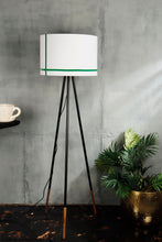Load image into Gallery viewer, Joss Stick Lamp Stand in White lampshade with Green Stripes [3 sizes]