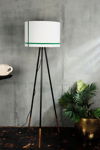 Joss Stick Lamp Stand in White lampshade with Green Stripes [3 sizes]