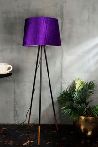 Joss Stick Lamp Stand in 2 Tapered [BEIGE, PURPLE VELVET] Shade