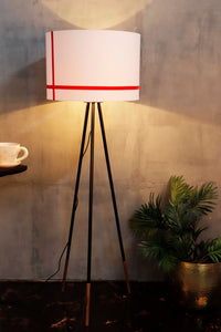 Joss Stick Lamp Stand in White lampshade with Red Stripes [3 sizes]