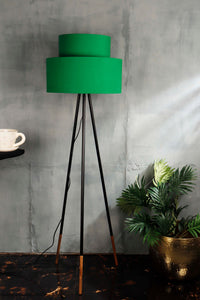 Joss Stick Lamp Stand with Green Upside Down Lampshade