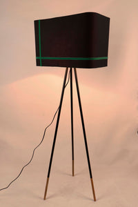 Joss Stick Lamp Stand in Black lampshade with Green Stripes