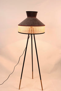 Joss Stick Lamp Stand with Upside Down Brown & Beige Shade