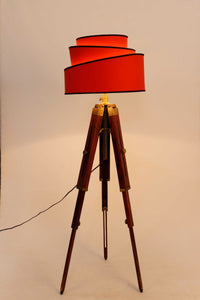 Triple Fold Brass Lamp Stand with Designer Red Rose Shade