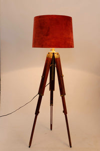 Triple Fold Brass Lamp Stand with 3 [RUST ORANGE, RED, PURPLE] Shade