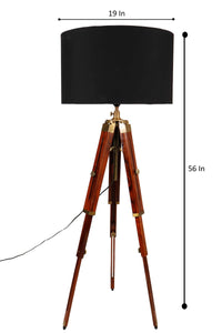 Triple Fold Brass Lamp Stand with 3 Black Shade in [3 Size]