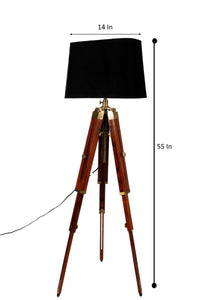 Triple Fold Brass Lamp Stand with Black Lampshade in [3 Size]