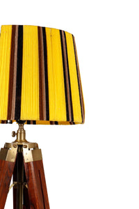 Triple Fold Brass Lamp Stand with Multi-color Yarn Shade