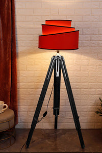 Double Fold Black Lamp Stand with Red Rose Designer Shade