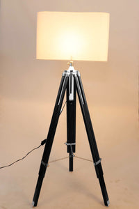 Double Fold Black Lamp Stand with WHITE Shade in [3 Sizes]