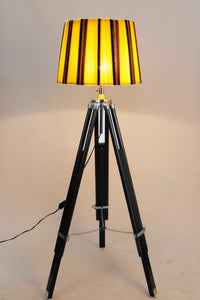 Double Fold Black Lamp Stand with Yellow Yarn Lampshade
