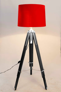 Double Fold Black Lamp Stand with Red Velvet Shade in [2 Sizes]