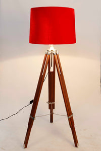 Double Fold Brown Lamp Stand with Red Velvet Shade in [2 Sizes]