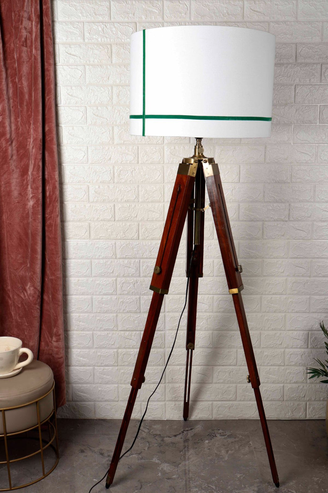 Triple Fold Brass Lamp Stand with Green Stripes White Shade in [2 Size]